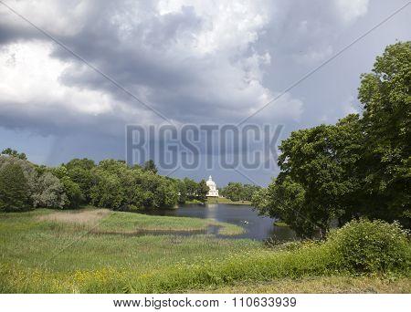 Japanese Pavilion. View from the Lower Pond. Russia. Petersburg. Oranienbaum (Lomonosov).