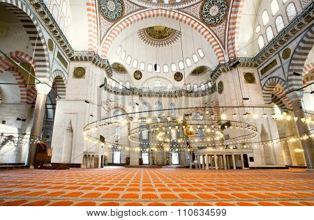 Interior Of 16Th Century Suleymaniye Mosque With Architectural Wonders And Bright Lights