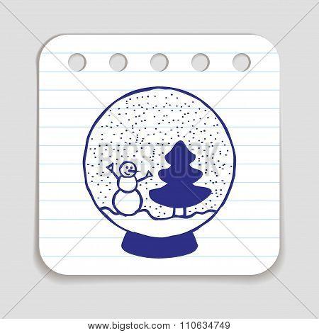 Doodle Snow Ball Icon