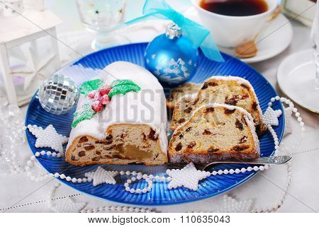 Christmas Stollen Cake On Blue Plate