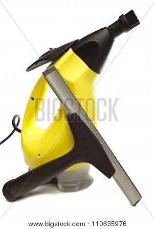 handheld steam cleaner and brush nozzle on a white background
