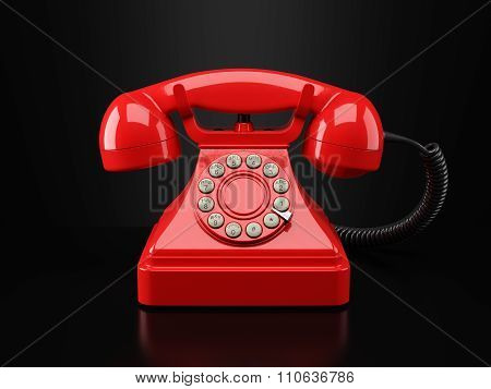 Red Vintage Phone On Black Background. Hotline Concept 3D