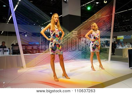 COLOGNE, GERMANY - SEPTEMBER 19, 2014: Samsung stand at the Photokina Exhibition. The Photokina is the world's largest trade fair for the photographic and imaging industries