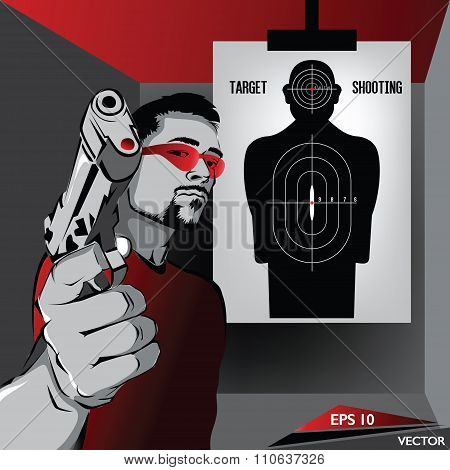Handgun Sports - Male Character Practicing Target Shooting
