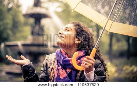 Happy Woman Under The Rain