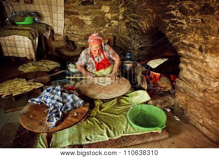 Traditional Tableside Preparation Of Gozleme Turkish Meal In A Village Restaurant