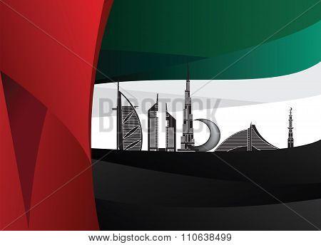 Silhouette Landmarks Of Dubai Over Uae Flag