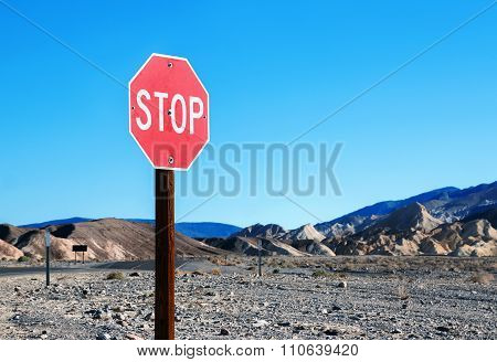 Stop Sign In A Desolate Area