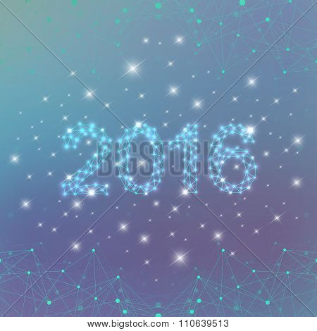 Text design Happy New Year 2016 on the blue background . Vector illustration