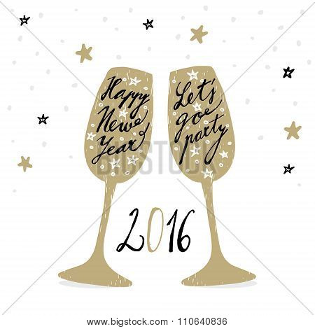 Cute Hand Drawn New Year 2016 Greeting Card With Wine Glasses, Vector