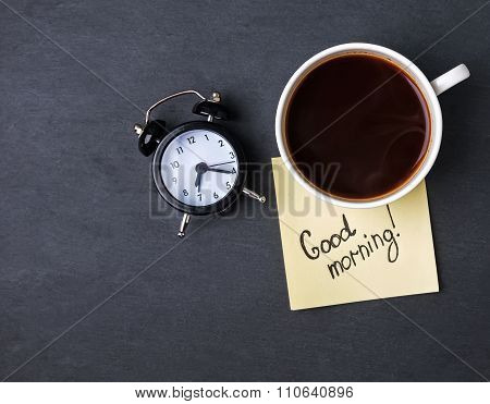Coffe, Clock And Paper With Text