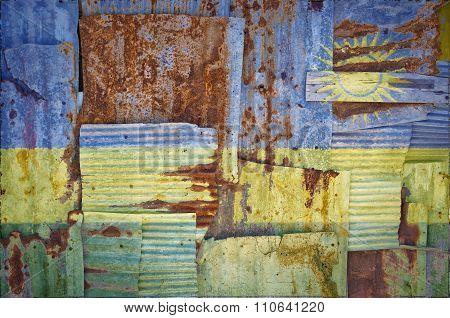 Corrugated Iron Rwanda Flag