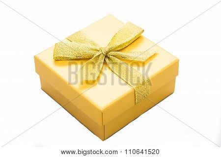 Yellow Gift Box With Ribbon Isolated On White Background