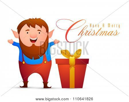 Illustration of a man with glossy big gift box, celebrating and enjoying on occasion of Merry Christmas.