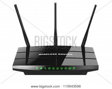 Black Wireless Router Wi-fi Isolated On White Background 3D