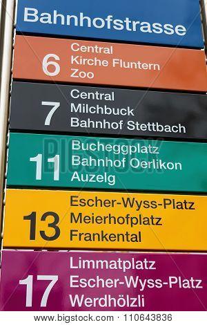 Sign On The Tram Stop On The Bahnhofstrasse Street In Zurich
