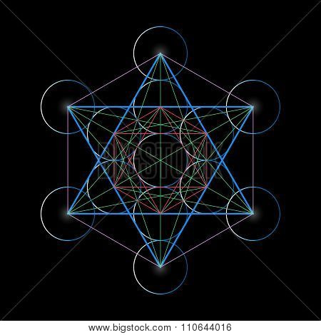 Metatrons Cube. Basics Of Sacred Geometry, Vector Illustration.