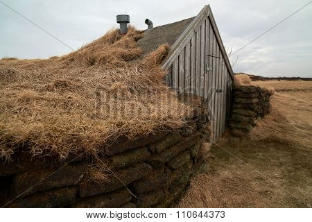 Small traditional turf house in iceland