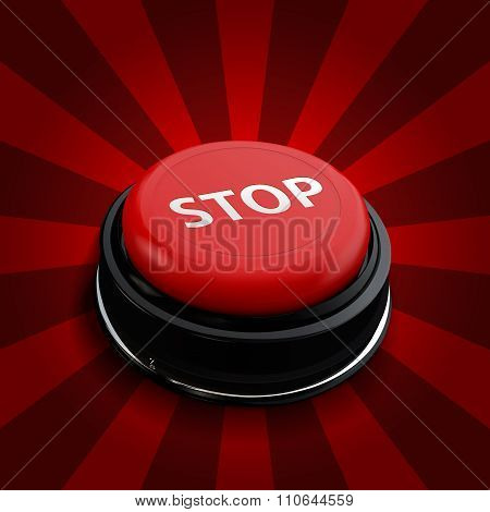Red button stop. Vector  isolate technology button with reflect.