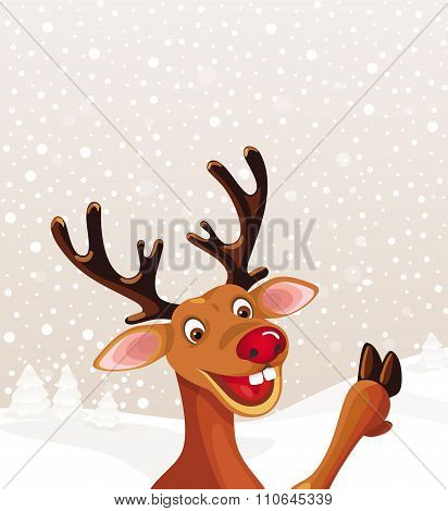 Reindeer with copy space on Christmas landscape