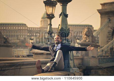 Jubilant businessman