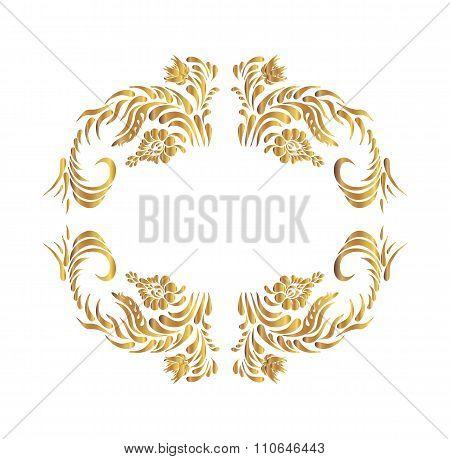 Vector golden floral pattern.