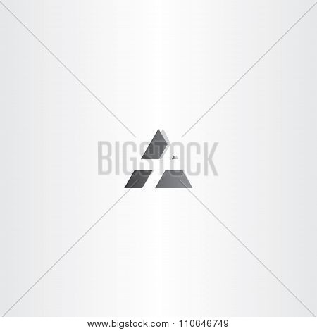 Letter A Black Vector Triangle Icon Design
