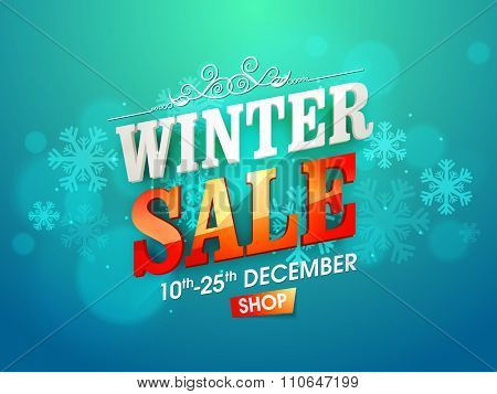 Shiny snowflakes decorated poster, banner or flyer design of Winter Sale for limited time.