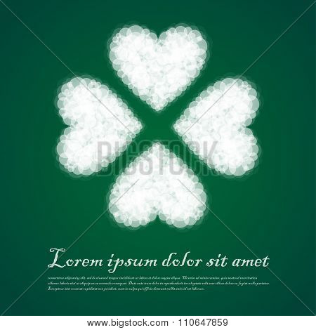Patricks Day Background With Irish Four Leaf Cloud Lucky Clovers