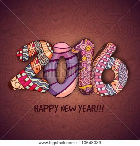 Elegant greeting card design with colorful floral decorated text 2016 for Happy New Year celebration.
