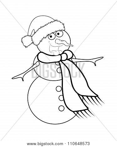 Christmas Snowman Cartoon Silhouette Design For Card. Winter Icon, Symbol Vector Illustration Isolat