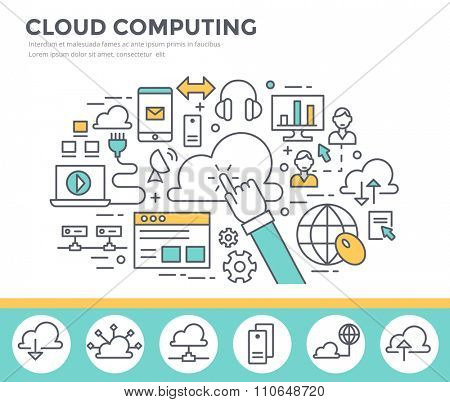Cloud computing concept illustration, flat design, thin line style