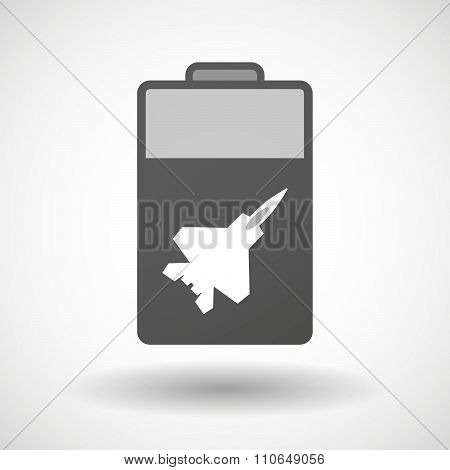 Isolated Battery Icon With A Combat Plane