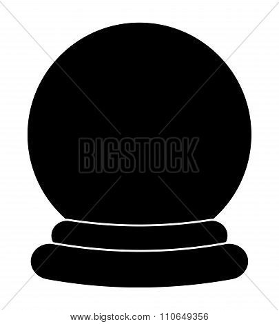 Christmas Snowglobe Cartoon Silhouette Design, Icon, Symbol For Card. Winter Transparent Glass Ball.