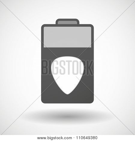 Isolated Battery Icon With A Plectrum