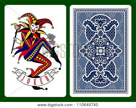 Joker playing card and dark blue backside background. Original design. Vector illustration