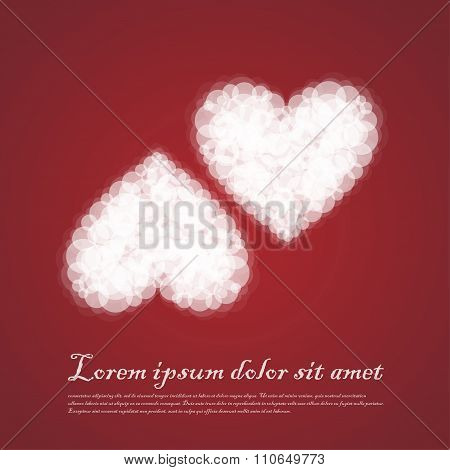 Twin Hearts Cluods Valentine Sentimental Red Abstract Background