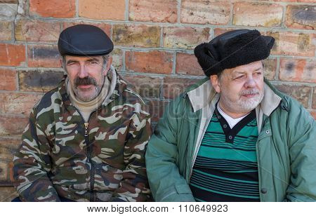Portrait of two elderly Ukrainian peasant friends