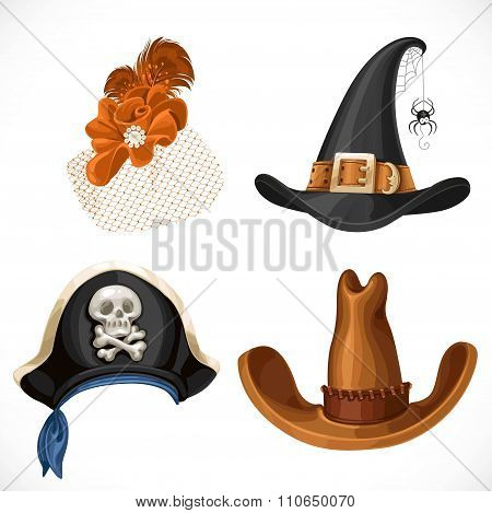 Set Of Hats For The Carnival Costumes - Female Retro Hat, Witch Hat, Pirate Hat With Bandanna And Br