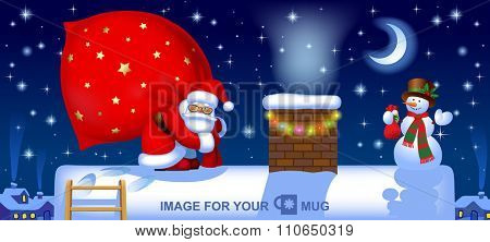 Santa carrying a big red sack and a snowman on the roof near a chimney against the winter night background. Easy to insert on a classic mug. Christmas and New Year greeting card. Vector illustration