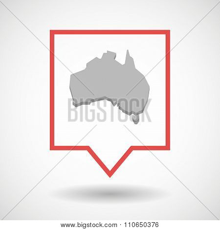 Isolated Tooltip Line Art Icon With  A Map Of Australia