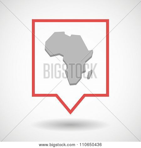 Isolated Tooltip Line Art Icon With  A Map Of The African Continent