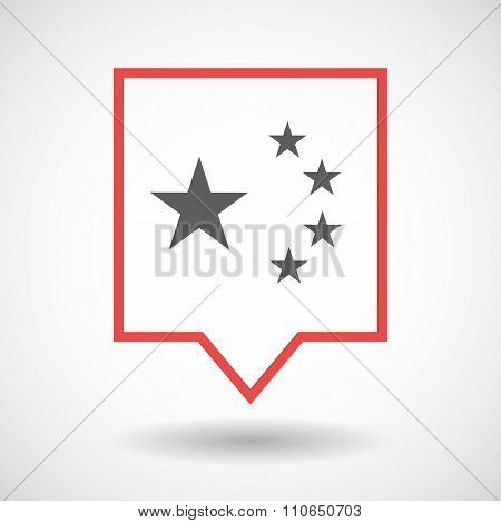 Isolated Tooltip Line Art Icon With  The Five Stars China Flag Symbol