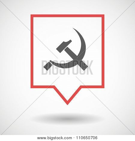 Isolated Tooltip Line Art Icon With  The Communist Symbol