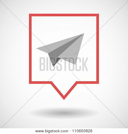 Isolated Tooltip Line Art Icon With A Paper Plane