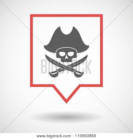 Isolated Tooltip Line Art Icon With A Pirate Skull