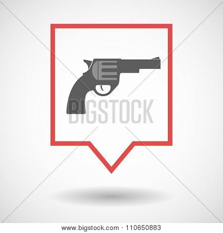 Isolated Tooltip Line Art Icon With A Gun