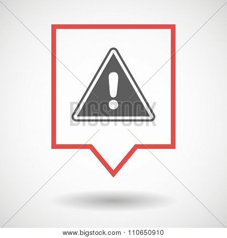 Isolated Tooltip Line Art Icon With A Warning Signal