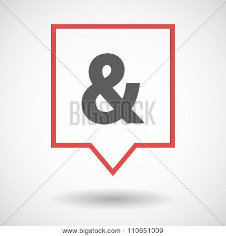 Isolated Tooltip Line Art Icon With An Ampersand