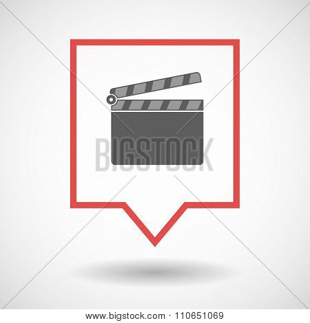 Isolated Tooltip Line Art Icon With A Clapperboard